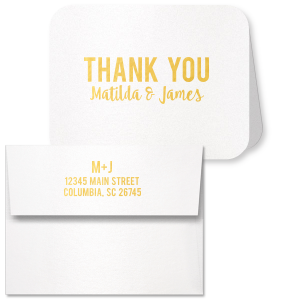 For Your Party's chic Strathmore White Classic Note Card with Envelope with Shiny 18 Kt Gold Foil will look fabulous with your unique touch. Your guests will agree!