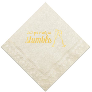 ForYourParty's elegant Ivory Cocktail Napkin with Shiny 18 Kt Gold Foil has a Flutes graphic and is good for use in Drinks, Wedding, Holiday themed parties and will impress guests like no other. Make this party unforgettable.