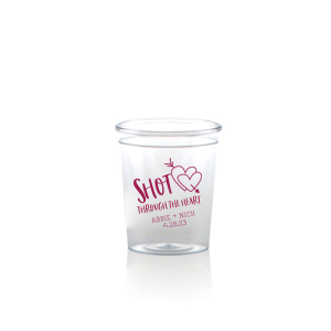 ForYourParty's personalized Plastic Shot Glass with Matte Dark Magenta Ink  has a Arrow Heart graphic and is good for use in Wedding, and love themed parties and will add that special attention to detail that cannot be overlooked.