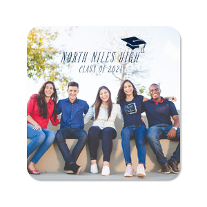 Our custom White Photo/Full Color Round Coaster with Matte Navy Ink Digital Print Colors has a Cap graphic and is good for use in Graduation themed parties and will add that special attention to detail that cannot be overlooked.