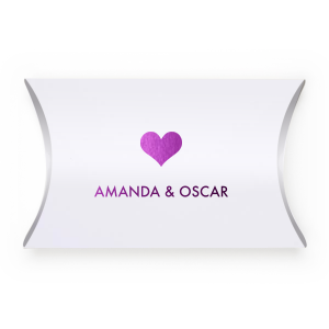 Our personalized Natural White Pillow Box with Shiny Amethyst Foil has a Heart Solid graphic and is good for use in Love, Wedding themed parties and can't be beat. Showcase your style in every detail of your party's theme!