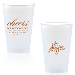 Make toasts in style with these custom cups featuring the newlyweds and their wedding date. With a script and serif font combination and beautiful Copper foil, they can also double as fantastic personalized party favors!