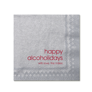 Personalized Lipstick Red Cocktail Napkin with Shiny Sterling Silver Foil can be personalized to match your party's exact theme and tempo.