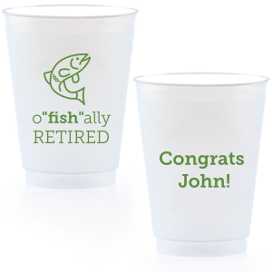 "It's o""fish""al! Serve drinks with your theme—our Fish graphic and fun retirement saying will be sure to make guests smile. Customize with the guest of honor's name for a unique touch. These plastic cups can even be taken home as personalized party favors."