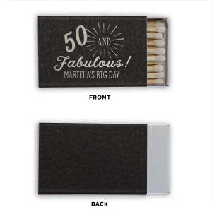 Personalized Black Classic Leather Matchbox with Shiny Sterling Silver Foil Color celebrates your birthday, anniversary, or other special occasion and will impress guests like no other. Make this party unforgettable.