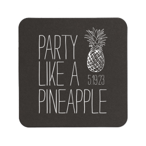 ForYourParty's elegant White Square Coaster with Matte Royal Blue Foil has a Pineapple graphic and is good for use in Food themed parties and will look fabulous with your unique touch. Your guests will agree!