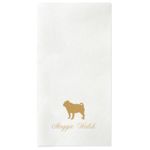 Our custom RECYCLED White Cocktail Napkin with Satin 18 Kt. Gold Foil has a Pug graphic and is good for use in Animal and Dog themed parties and can be customized to complement every last detail of your party.