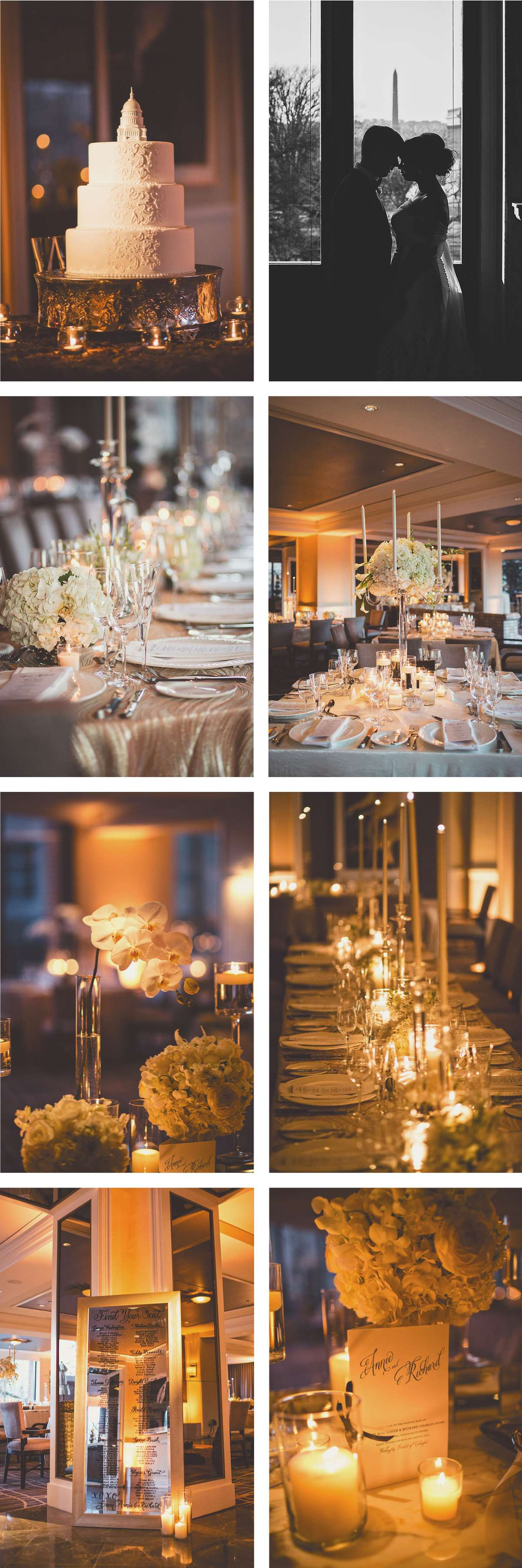 formal black and white wedding reception