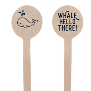 Custom Matte Navy Round Stir Stick with Matte Navy Foil has a Whale graphic and is good for use in Animals, Birthday, Kid Birthday and Baby Shower themed parties and can be personalized to match your party's exact theme and tempo.