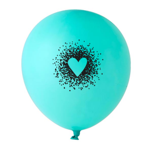 ForYourParty's personalized Tiffany Blue Designer Balloon with Black Ink Ink Color has a Dotted Heart graphic and is good for use in Hearts, Wedding themed parties and are a must-have for your next event—whatever the celebration!