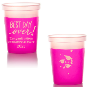 Our custom Purple 16 oz Stadium Cup with Matte Pastel Pink Ink Cup Ink Colors has a Best Day Ever graphic and a Caps Thrown graphic and is good for use in Graduation themed parties and can be customized to complement every last detail of your party.
