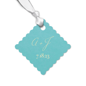 Send guests home from your wedding with a thank you treat tied with this custom beach gift tag. Add your initials and wedding date for a personal touch.