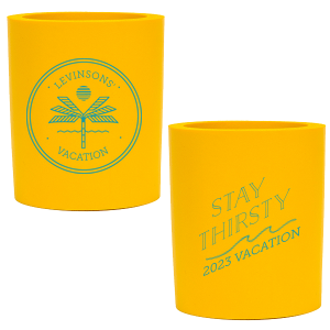 The ever-popular Yellow Round Can Cooler with Gold Ink Screen Print has a Palm Tree Badge graphic and a Wave Flourish graphic and is good for use in Beach/Nautical, Accents themed parties and will make your guests swoon. Personalize your party's theme today.