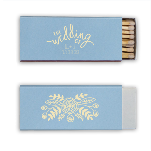 Our custom Natural Chambray Classic Matchbox with Matte Ivory Foil Color has a Rustic Floral Accent graphic and is good for use in Accents themed parties and will impress guests like no other. Make this party unforgettable.