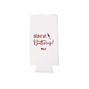 Our beautiful custom Ivory - Natural Round Can Cooler with Matte Merlot Ink has a Single flute graphic and is good for use in Drinks, Holiday, and Wedding themed parties and will look fabulous with your unique touch. Your guests will agree!