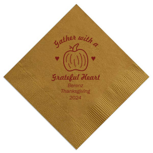 Make this Thanksgiving memorable with customized napkins! Add your family's name and the year for a personal touch. This Gather With A Grateful Heart napkin in Shiny in Gold-non metallic can be customized to complement every detail of your holiday celebration.