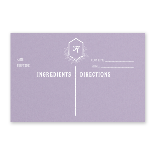 Our personalized Poptone Lavender Recipe Card with Matte White Foil has a Crest Leaf graphic and is good for use in Frames, Floral, Wedding themed parties and will add that special attention to detail that cannot be overlooked.