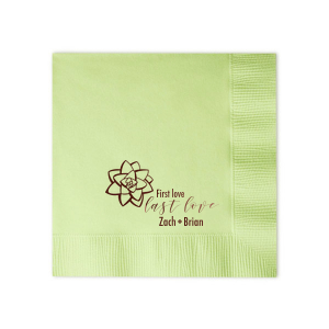 ForYourParty's elegant Honeydew Cocktail Napkin with Matte Chocolate Foil has a Succulent graphic and is good for use in Organic, Southwestern, and Floral themed parties and can be personalized to match your party's exact theme and tempo.