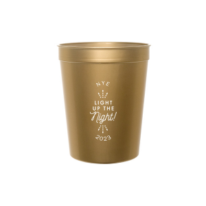 Personalized Gold 16 oz Stadium Cup with Silver Ink Screen Print has a Light the Night graphic and is good for use in Wedding themed parties and will give your party the personalized touch every host desires.