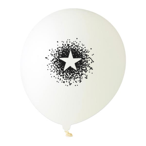 Our custom White Designer Balloon with Black Ink Ink Color has a Dotted Star graphic and is good for use in Stars, Graduation themed parties and will add that special attention to detail that cannot be overlooked.