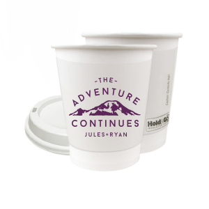 Custom Matte Eggplant Ink 8 oz Paper Coffee Cup with Lid with Matte Eggplant Ink Cup Ink Colors has a Mountain graphic and is good for use in Travel, Outdoors, Sports themed parties and will impress guests like no other. Make this party unforgettable.