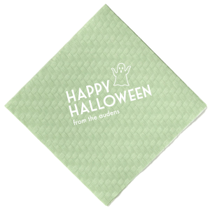 Our custom Turquoise Cocktail Napkin with Matte Black Foil has a Ghost graphic and is good for use in Halloween themed parties and can't be beat. Showcase your style in every detail of your party's theme!
