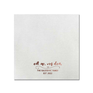 ForYourParty's chic White Linen Like Grande Napkin with Shiny Merlot Foil has a Simple Heart Flourish graphic and is good for use in Frames, Hearts, Wedding themed parties and can be customized to complement every last detail of your party.