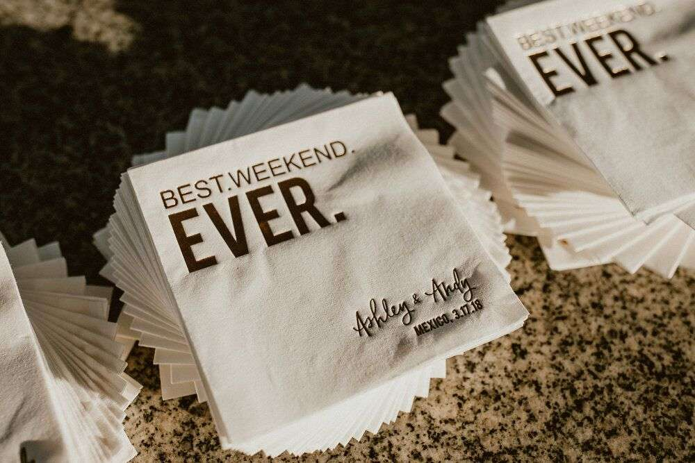 "personalized ""best weekend ever"" cocktail napkins for Everyday Pursuits"