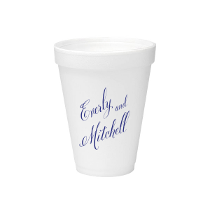 Personalized 12 oz Styrofoam Cup with Matte Cobalt Ink Cup Ink Colors can't be beat. Showcase your style in every detail of your party's theme!