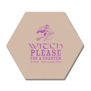 Our beautiful custom Black with Silver back Deco Coaster with Satin Plum Foil Color has a Sexy Witch graphic and is good for use in Halloween themed parties and can be personalized to match your party's exact theme and tempo.