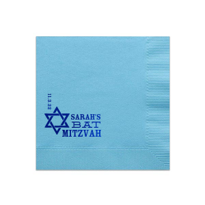 Personalized Turquoise Cocktail Napkin with Shiny Royal Blue Imprint Foil Color has a Star 1 graphic  and is good for use in Stars, Jewish Symbols themed parties and can be personalized to match your party's exact theme and tempo.