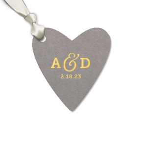 ForYourParty's chic Natural Slate Large Heart Gift Tag with Shiny 18 Kt Gold Foil can't be beat. Showcase your style in every detail of your party's theme!