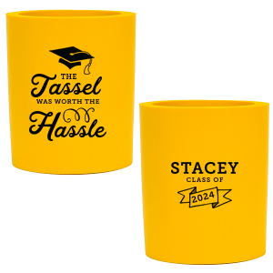 Personalized Navy Flat Can Cooler with Matte Sky Blue Ink Cup Ink Colors has a Cap graphic and a Banner graphic and is good for use in Accents, Frames themed parties and will give your party the personalized touch every host desires.