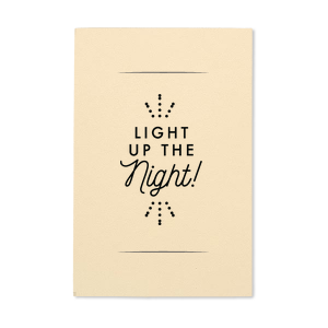 Designed by Martha Stewart Weddings, this Natural Ivory Small Sparkler Sleeve with Matte Black Foil has an adorable Light the Night graphic that will give your party the personalized touch every host desires!