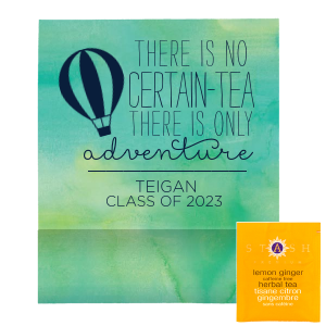 Our beautiful custom Watercolor Seaglass Tea Favor with Matte Navy Foil has a Hot Air Balloon  graphic and is good for use in Travel, Adventure, Baby Shower and Graduation themed parties and will give your party the personalized touch every host desires.