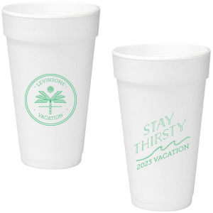 Personalized Matte Spring Green Ink 16 oz Styrofoam Cup with Matte Spring Green Ink Cup Ink Colors has a Palm Tree Badge graphic and a Wave Flourish graphic and is good for use in Beach/Nautical, Accents themed parties and will add that special attention to detail that cannot be overlooked.
