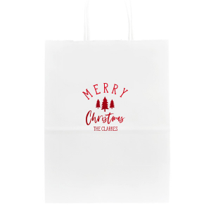 ForYourParty's chic White Gloss Goodie Bag with Shiny Convertible Red Foil has a Forest graphic and is good for use in Christmas, Floral themed parties and will make your guests swoon. Personalize your party's theme today.