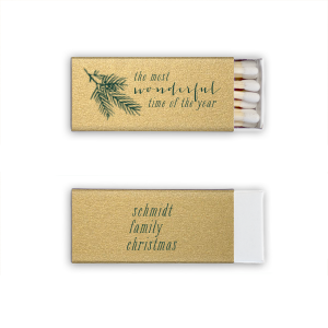 ForYourParty's elegant Stardream Champagne Classic Matchbox with Matte Spruce Foil Color has a Pine graphic and is good for use in Floral themed parties and can be customized to complement every last detail of your party.