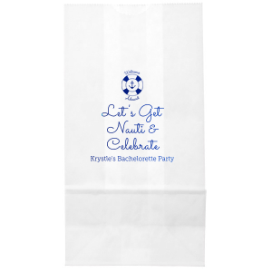 Welcome party guests aboard your bachelorette bash with a themed treat! Be it a snack, drink or preemptive hang over kit, toss your gift in a personalized bag for a memorable touch. Our Anchor and Life Preserver graphic and Let's Get Nauit saying are the perfect nautical touches for your ocean or sailing theme.