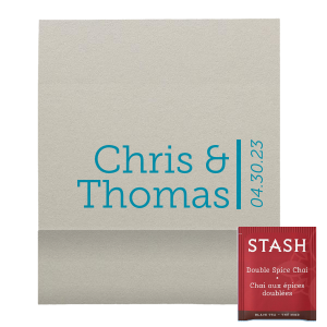 Personalized Natural Gray Party Pocket with Satin Teal / Peacock Foil will look fabulous with your unique touch. Your guests will agree!