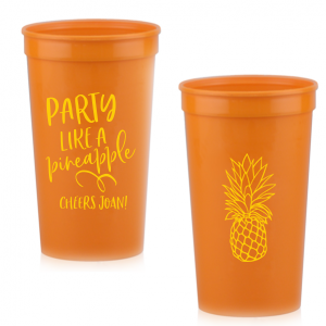 ForYourParty's chic Hot Pink 16 oz Stadium Cup with Matte Sunflower Ink Cup Ink Colors has a Pineapple Tiki graphic and is good for use in Food, Beach/Nautical themed parties and couldn't be more perfect. It's time to show off your impeccable taste.