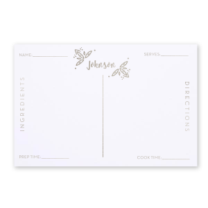 ForYourParty's elegant Natural Frost White Recipe Card with Shiny Sterling Silver Foil has a Rustic Leaf Accent graphic and is good for use in Accents, Wedding, Organic themed parties and will add that special attention to detail that cannot be overlooked.