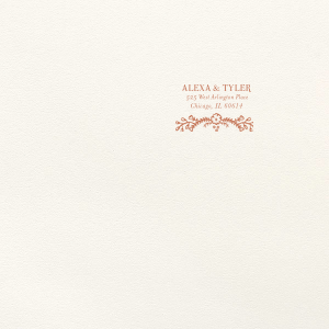 Personalized Lettra Pearl White 110lb Invitation Envelope with Satin Copper Penny Foil has a Marigold Vine graphic and is good for use in Floral, Bridal Shower, Wedding themed parties and can't be beat. Showcase your style in every detail of your party's theme!