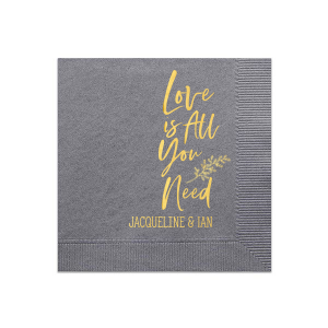 Personalized Dove Gray Luncheon Napkin with Shiny 18 Kt Gold Foil has a Leaf graphic and is good for use in Love and Wedding themed parties and are a must-have for your next event—whatever the celebration!