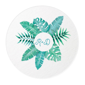 ForYourParty's elegant White Photo/Full Color Round Coaster with Matte Teal/Peacock Ink Digital Print Colors can be customized to complement every last detail of your party.