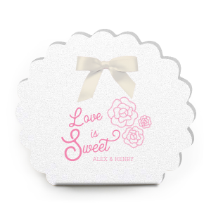 Our custom Cake Box with Matte Ballet Pink Foil has a Romantic Roses Bunch graphic and is good for use in Floral and Garden themed parties celebrating How Sweet Love is , whether it is a bridal or baby shower or wedding and will make your guests swoon. Personalize your party's theme today.