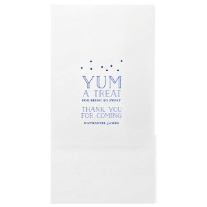 "Say thanks for coming with a delicious treat in your very own personalized bags. Stick with this blue foil or choose another color to match your theme. You'll have them saying ""Yum!"" all the way home. With our casual block font and diamond confetti design, this is perfect for any birthday, mitzvah, graduation and more."