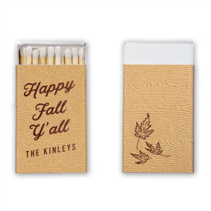 Our custom Marble Taupe Classic Matchbox with Shiny Merlot Foil has a Three Leaves graphic and is good for use in Floral, Holiday, Thanksgiving themed parties and are a must-have for your next event—whatever the celebration!