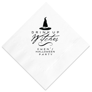 ForYourParty's personalized Tangerine Cocktail Napkin with Matte Black Foil has a Witch's Hat graphic and is good for use in Halloween themed parties and will look fabulous with your unique touch. Your guests will agree!
