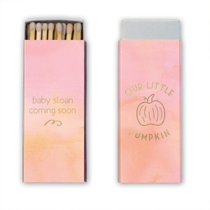 Our custom Watercolor Rose Classic Matchbox with Shiny Turquoise Foil has a Pumpkin graphic and is good for use in Thanksgiving, Halloween themed parties and can be customized to complement every last detail of your party.